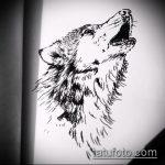 эскиз тату воющий волк №900 - достойный вариант рисунка, который успешно можно использовать для доработки и нанесения как тату волк воет на луну