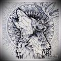 эскиз тату воющий волк №663 - прикольный вариант рисунка, который легко можно использовать для преобразования и нанесения как тату воющий волк на предплечье