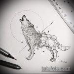 эскиз тату воющий волк №105 - прикольный вариант рисунка, который хорошо можно использовать для преобразования и нанесения как тату воющий волк на предплечье