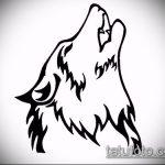 эскиз тату воющий волк №227 - прикольный вариант рисунка, который успешно можно использовать для переделки и нанесения как тату волк воет на луну