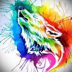эскиз тату воющий волк №95 - крутой вариант рисунка, который легко можно использовать для переделки и нанесения как волк воющий тату