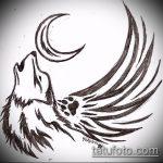эскиз тату воющий волк №777 - прикольный вариант рисунка, который хорошо можно использовать для переделки и нанесения как волк тату воет