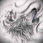 эскиз тату воющий волк №34 - достойный вариант рисунка, который хорошо можно использовать для переработки и нанесения как тату воющий волк на лопатке