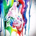 эскиз тату воющий волк №807 - достойный вариант рисунка, который успешно можно использовать для переделки и нанесения как тату волк воет на луну
