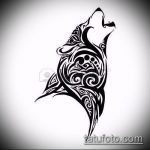 эскиз тату воющий волк №84 - крутой вариант рисунка, который успешно можно использовать для переработки и нанесения как тату волк воет на луну