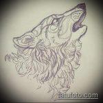 эскиз тату воющий волк №139 - эксклюзивный вариант рисунка, который успешно можно использовать для переработки и нанесения как тату воющий волк на спине