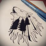 эскиз тату воющий волк №307 - крутой вариант рисунка, который хорошо можно использовать для переделки и нанесения как волк на луну воет тату