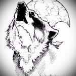 эскиз тату воющий волк №337 - интересный вариант рисунка, который хорошо можно использовать для переделки и нанесения как тату воющий волк на предплечье