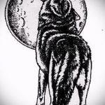 эскиз тату воющий волк №771 - интересный вариант рисунка, который легко можно использовать для доработки и нанесения как тату воющий волк на спине