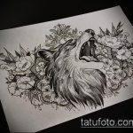 эскиз тату воющий волк №538 - интересный вариант рисунка, который легко можно использовать для переработки и нанесения как тату волк воет на луну