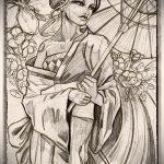 эскиз тату гейша №800 - крутой вариант рисунка, который успешно можно использовать для преобразования и нанесения как тату гейша на руке
