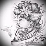 эскиз тату гейша №511 - уникальный вариант рисунка, который удачно можно использовать для переработки и нанесения как тату гейша убийца
