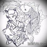 эскиз тату гейша №82 - уникальный вариант рисунка, который хорошо можно использовать для преобразования и нанесения как тату гейша самурай