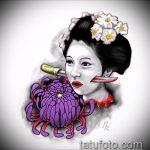эскиз тату гейша №970 - эксклюзивный вариант рисунка, который легко можно использовать для переработки и нанесения как тату гейша с зонтиком