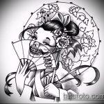 эскиз тату гейша №949 - крутой вариант рисунка, который хорошо можно использовать для доработки и нанесения как тату гейша на спине