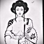 эскиз тату гейша №33 - крутой вариант рисунка, который легко можно использовать для доработки и нанесения как тату гейша на животе
