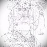 эскиз тату гейша №267 - крутой вариант рисунка, который успешно можно использовать для переделки и нанесения как тату гейша на дереве