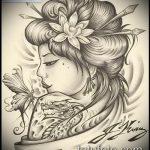 эскиз тату гейша №901 - эксклюзивный вариант рисунка, который удачно можно использовать для доработки и нанесения как тату гейша с катаной