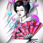эскиз тату гейша №251 - классный вариант рисунка, который хорошо можно использовать для переработки и нанесения как тату гейша с катаной