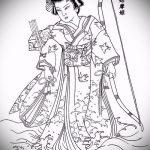 эскиз тату гейша №489 - эксклюзивный вариант рисунка, который хорошо можно использовать для переработки и нанесения как тату гейша на ноге