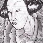 эскиз тату гейша №249 - интересный вариант рисунка, который успешно можно использовать для преобразования и нанесения как тату гейша на спине