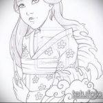 эскиз тату гейша №346 - крутой вариант рисунка, который удачно можно использовать для переделки и нанесения как тату гейша с черепом