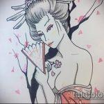 эскиз тату гейша №284 - эксклюзивный вариант рисунка, который легко можно использовать для переделки и нанесения как тату гейша для девушек