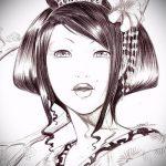 эскиз тату гейша №484 - интересный вариант рисунка, который хорошо можно использовать для доработки и нанесения как тату гейша на спине