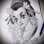 эскиз тату гейша №677 - достойный вариант рисунка, который успешно можно использовать для переработки и нанесения как тату гейша с сакурой