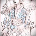 эскиз тату гейша №622 - уникальный вариант рисунка, который легко можно использовать для переработки и нанесения как тату гейша для девушек