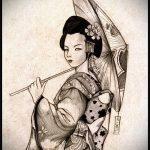 эскиз тату гейша №194 - достойный вариант рисунка, который хорошо можно использовать для преобразования и нанесения как тату гейша на спине