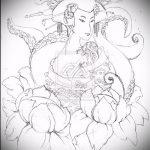 эскиз тату гейша №391 - классный вариант рисунка, который удачно можно использовать для переработки и нанесения как тату гейша с катаной