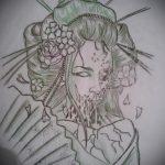 эскиз тату гейша №795 - эксклюзивный вариант рисунка, который легко можно использовать для переработки и нанесения как гейша с мечом тату
