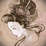 эскиз тату гейша №461 - достойный вариант рисунка, который успешно можно использовать для переделки и нанесения как тату гейша рукав
