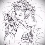 эскиз тату гейша №172 - достойный вариант рисунка, который хорошо можно использовать для доработки и нанесения как тату гейша на всю спину