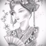 эскиз тату гейша №988 - интересный вариант рисунка, который удачно можно использовать для доработки и нанесения как тату гейша с зонтиком