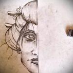 эскиз тату гейша №898 - интересный вариант рисунка, который удачно можно использовать для переработки и нанесения как тату гейша на руке