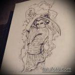 эскиз тату гейша №98 - классный вариант рисунка, который хорошо можно использовать для переработки и нанесения как тату гейша на ноге