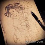 эскиз тату гейша №210 - крутой вариант рисунка, который легко можно использовать для доработки и нанесения как тату гейша для девушек