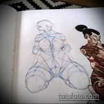 эскиз тату гейша №570 - прикольный вариант рисунка, который легко можно использовать для переработки и нанесения как тату японская гейша