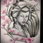 эскиз тату гейша №134 - прикольный вариант рисунка, который хорошо можно использовать для преобразования и нанесения как тату гейша с веером