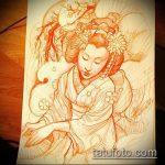 эскиз тату гейша №275 - уникальный вариант рисунка, который удачно можно использовать для переделки и нанесения как тату гейша на бедре