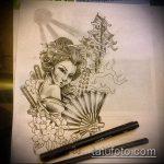эскиз тату гейша №341 - достойный вариант рисунка, который хорошо можно использовать для переделки и нанесения как тату гейша на предплечий
