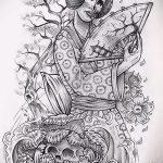эскиз тату гейша №249 - эксклюзивный вариант рисунка, который хорошо можно использовать для доработки и нанесения как тату гейша на бедре