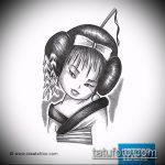 эскиз тату гейша №438 - интересный вариант рисунка, который легко можно использовать для переделки и нанесения как тату гейша на предплечий