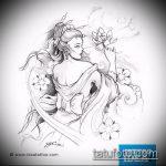 эскиз тату гейша №726 - прикольный вариант рисунка, который удачно можно использовать для преобразования и нанесения как гейша с мечом тату