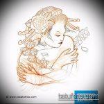 эскиз тату гейша №828 - достойный вариант рисунка, который успешно можно использовать для переработки и нанесения как тату гейша на животе