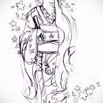 эскиз тату гейша №768 - эксклюзивный вариант рисунка, который удачно можно использовать для доработки и нанесения как тату гейша с веером