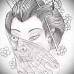 эскиз тату гейша №304 - эксклюзивный вариант рисунка, который легко можно использовать для переработки и нанесения как тату гейша рукав