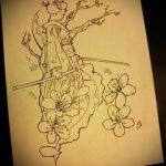 эскиз тату гейша №20 - прикольный вариант рисунка, который успешно можно использовать для доработки и нанесения как гейша с мечом тату